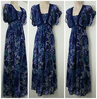 M&S Per Una Blue Multi Floral Cold Shoulder Maxi Dress Size 10 R Cruise Holiday
