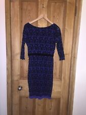"Next Blue Bodycon V Back Design Dress Size 10 AtoA17"" L36"" BNWT *C2"