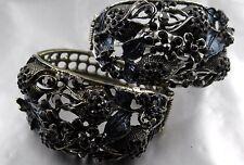 Armreif Floralie schwarzer Srass grauer emaille Lack wählbar Gold oder Silber
