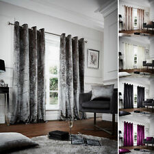 Crushed Velvet Curtains Designer Luxury Glittery Eyelet Top Fully Lined Pair GC