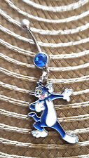 Tom and Jerry Tom the cat  Belly Ring Navel Ring 14G Surgical Steel Dangle