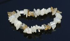 Citrine and Mother of Pearl Gemstone Chip Bracelet