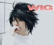 Death Note L Black Short Stylish Anime Cosplay Wig + Wigs Hairnet