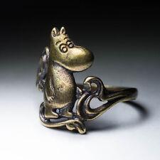 Cute Moomin Ring, brass, size 18mm / US 8, handmade