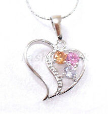 Pink Heart Love CZ Cubic White Gold Plated Necklace Pendant Gift with Chain 17.7