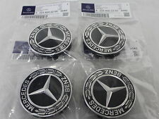 Genuine Mercedes-Benz Black Emblem Laurel Wreath Alloy Wheel Hub Centre Caps X4