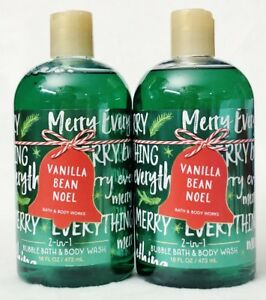 2 Bath & Body Works VANILLA BEAN NOEL 2in1 Bubble Bath Body Wash Shower Gel