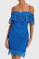 Forever Unique Women's Edith Laser Cut Lace Ruffle Dress - Sax Blue (Size UK 8)