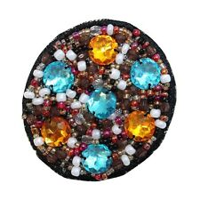 ID 9129 Indian Gem Design Patch Circle Fashion Jewelry Beaded Sew On Applique