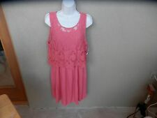 """NWT Skies Are Blue Orig $79 Dress Coral, Top Laced Net, Dress Crinkle Ribbed """"S"""""""