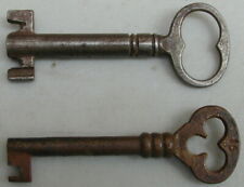 2 Old Orig. Large Antique Metal Skeleton Keys Jail-Prison Keys 1890's Very Rare