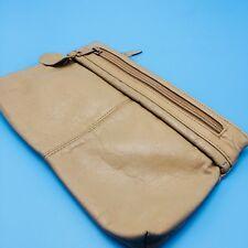 Vtg Antonia Designs Camel Brown Leather Clutch Purse Handbag Medium Sized