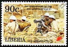 WWII US Army Engineer Task Force Soldiers & Machine Gun Stamp (1995 Liberia)