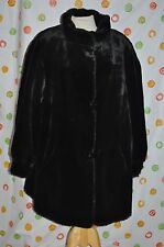 Black J PERCY FAUX  FUR women's Large REVERSIBLE  LUXURIOUS COAT  CHIC