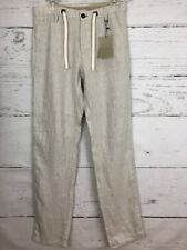 NWT Zara Man Sz S  Linen Drawstring Trousers Casual Measures 32x32  Y9