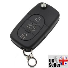 "Audi A2 A3 A4 A6 A8 TT 3 Button Key Fob Case Shell With Uncut Blade ""WITH LOGO"""