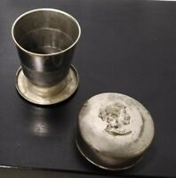 Vintage Aluminum Tin Expandable Collapsible Travel Cup Embossed Lid Cameo