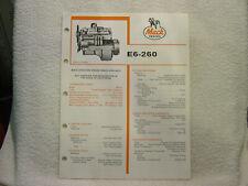 MACK TRUCK ENGINE E6-260 c 1984 data sales brochure catalog