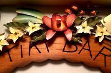 Tiki Bar Wall Decor Wood Metal Flowers Orchids