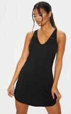 PRETTY LITTLE THING BLACK JERSEY V PLUNGE SLEEVELESS SHIFT DRESS SIZE 4