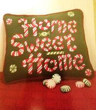 "Candy Cane Greeting Needlepoint Pillow 10"" x 8"" - Debbie Mumm - Partial Kit"
