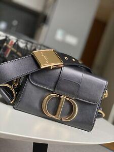 Montaigne Box Bag. Black leather bag . Medium size.