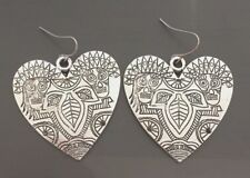 Large Detailed Silver Plated Native Drawings Heart Boho Spirit Bohemian Earrings
