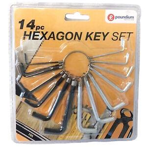 14pc Allen Key Set Wrench Hex Alan Allan AF Metric With Ring Holder DIY Steel