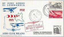 60180  - STORIA POSTALE - AVIAZIONE: 30° Giro Aereo LOMBARDIA  # 01270 1971