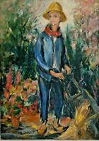 Peinture huile sur Toile Signé Hélène Gallet Enfant Jardinier XX eme