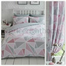 """METRO GEOMETRIC TRIANGLE SINGLE DUVET COVER SET + CURTAINS FULLY LINED 66"""" x 54"""""""