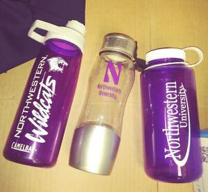 3 Northwestern Univ. New Camelbak Chute Mag cap and Nalgene water bottles purple