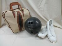 Vintage Ebonite Tornado 15 lb Bowling Ball AMF Bag Endicott Johnson Shoes (AL)