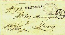 Z17380-VENETO, DA SAN MARTINO BUON ALBERGO PER ZEVIO, COLLETTORIA SU PIEGO, 1870