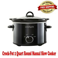 Crock-Pot 2 Quart Round Manual Slow Cooker, Black, Low and High Settings