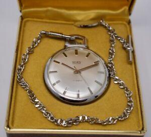 Vintage Mint NOS Gruen Precision Pocket Watch w/ Chain & Box