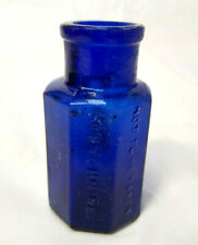 Antique Cobalt Blue Octagonal Jacob Hulle Poison Bottle - 1800's