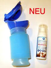 Uriwell die mobile Toilette, Urinal, Happy Pi in blau + Dermaphex Desinfizierer