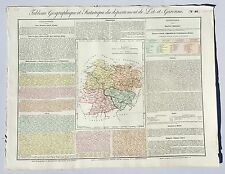 Dépt 47 - Rare Carte Géographique & Statistique du Lot Garonne Aquarellée 1826