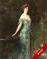 BEAUTIFUL WOMAN W GREEN DRESS & LAURELS OIL PAINTING ART PRINT ON REAL CANVAS
