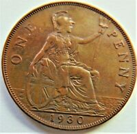 1930 GB GEORGE V, Bronze Penny Brown and Red grading  EXTRA FINE