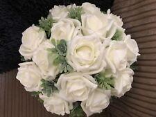 Wedding Flowers Bridesmaid Large Ivory & Foliage Posy Bouquet