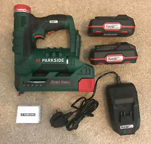 Parkside Cordless Stapler / Nail Gun 20v comes with 2 x 2ah batteries & Charger