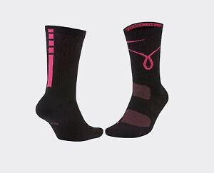 Nike Elite Kay Yow Basketball Crew Socks- Black/Pink. Men's Size: LG (8-12)