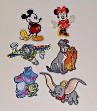 Lot of 6 Disney Asst Embroidered Applique Iron On Patch Mickey Dumbo Lady Buzz
