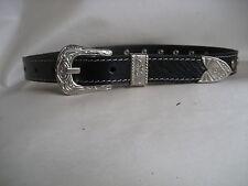 Genuine Black Silver Studded Leather Kids/Childrens Belt