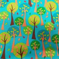 On the Road Trees Teal Quilting Treasures 100% Cotton fabric by the yard