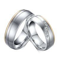 6mm Silver Gold Brushed CZ Band Stainless Steel Men/Women Couple Rings Size 5-12