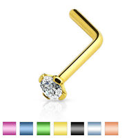 Titanium Plated on Surgical Steel L-Bend Nose Stud Ring with 2mm CZ Gem