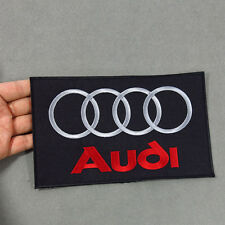 AUDI Embroidered Patch Embroidery Racing Emblem Mark 208x127mm Black - Large